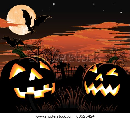 A graveyard, bats and pumpkin Halloween background