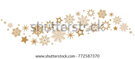 A gray whirlwind of golden snowflakes and stars. New Year's element. flat vector illustration isolated on white background