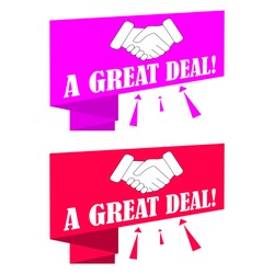 A Great Deal. Pink and red banner, poster with handshake. Vector illustration on white background.