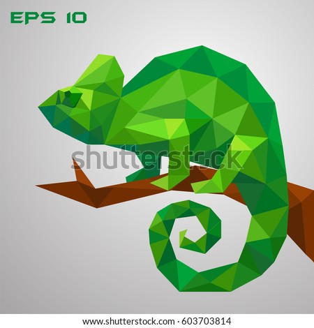 a green chameleon is sitting on