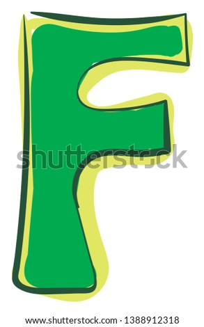 A green-colored alphabetic figurine represents the alphabet F  vector  color drawing or illustration