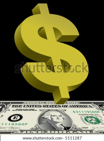 A green dollar sign hovers over a dollar bill