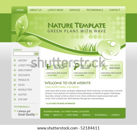 A green, eco, nature environmental web template with a header and navigation. There are leafs and water drops of moisture in the top with grass. Use for your business.