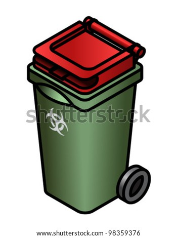 A green infectious waste bin with a red lid.