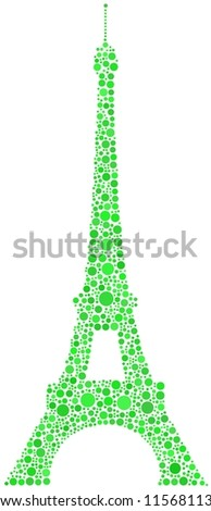 A green mosaic of the Eiffel Tower in Paris (France)