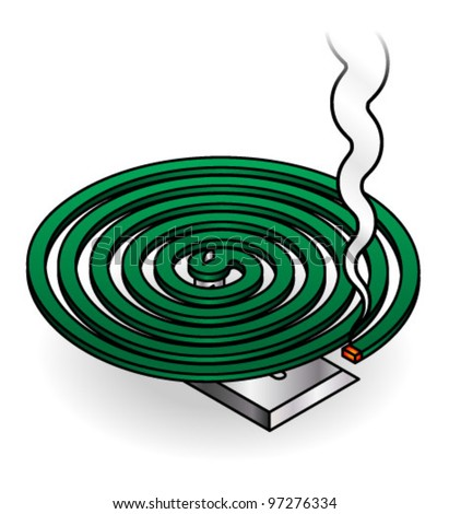 A green smoking mosquito coil.