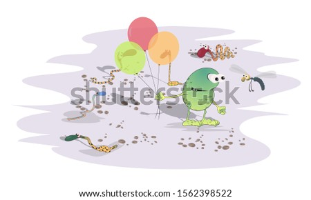 A green strange toad with balloons in the desert among snakes meets a dragonfly. Sketch in cartoon caricature style.