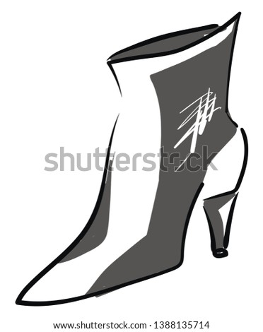 A grey cut shoe with catchy designs and a high heel is perfect for party wear  vector  color drawing or illustration