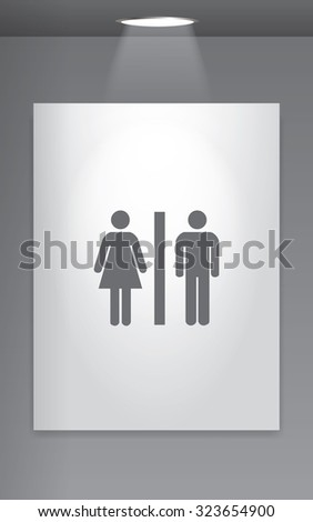 A Grey Icon Isolated on Gallery Wall - Toilet #323654900