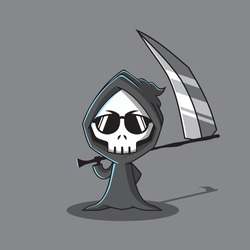a grim reaper character that is robed in black and carries a large scythe