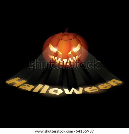 A grinning Jack O Lantern. Vector illustration on black.