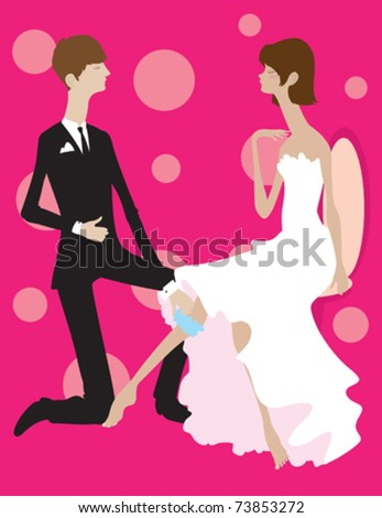 stock vector A groom formally taking off his brides garter belt