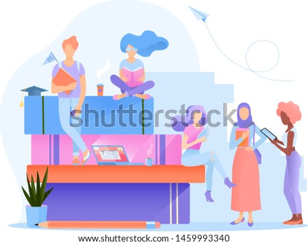 A group multiethnic students. They are standing or sitting, reading books, holding gadgets in their hands. Education vector illustration. Flat design for web