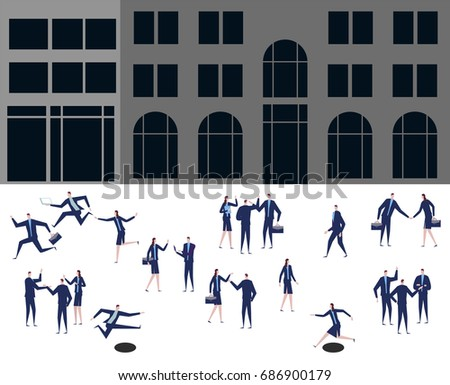 A group of business and office people are standing in front of the building. Vector illustration.