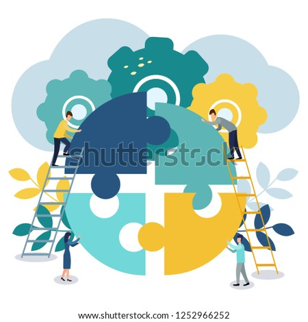 A group of businessmen involved in puzzle pieces, is to support the team, brainstorm or success, to find the perfect idea concept.