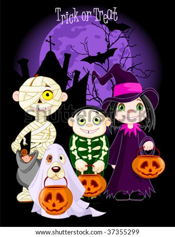 A group of cute kids and dog, dressed up to trick or treat on Halloween night. All characters on separate layers