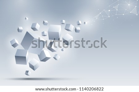a group of 3d cubes floating to