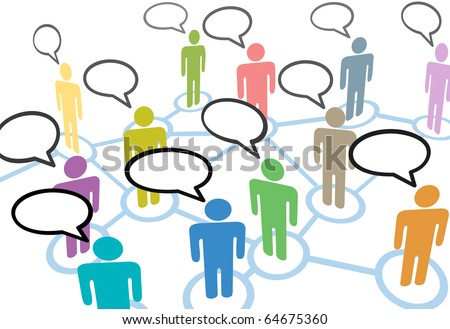A group of diverse people talk in social media speech communication network connections - stock vector
