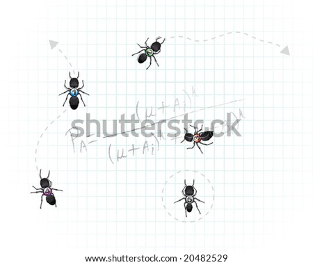 A group of five dark worker ants with numbers pasted on their back. Equation has to do with probability concerning ant foraging. Good general concept for mathematics and organization.