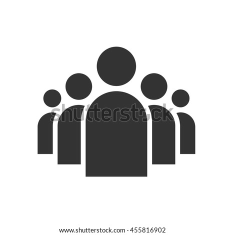 A group of five people. Community icon. Share symbol. Group of users.