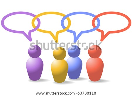 A group of four people symbols talk in social media speech bubbles which form a network link chain