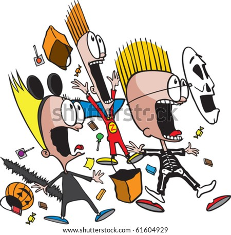 A group of frightened cartoon children on Halloween. Vector file available.