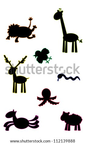 a group of funny animals silhouettes