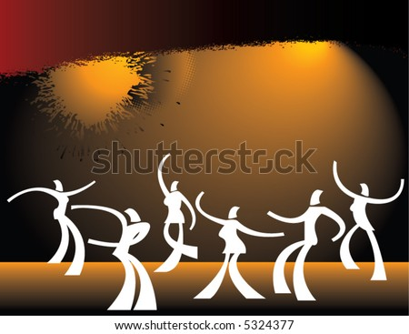 A group of highly stylized dancers, both men and women against a grunge background