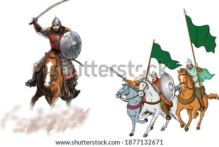 A group of knights ride horses running from Arab and Islamic history