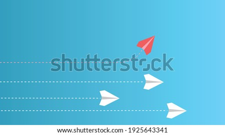 A group of papers in which he faces a single direction and a series of different directions. Business work for new creative creativity and solution.