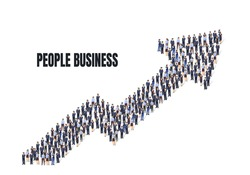 A group of people are getting to business arrow, concept people. Vector illustration