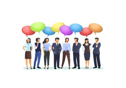 A group of people are getting to business, concept people chat. Vector illustration