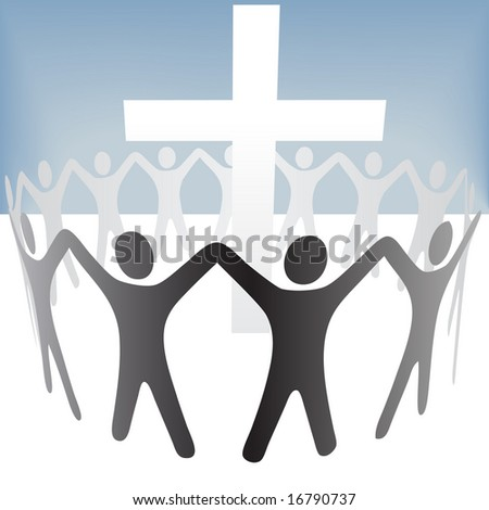 A group of people circle around a cross, hold up their hands.