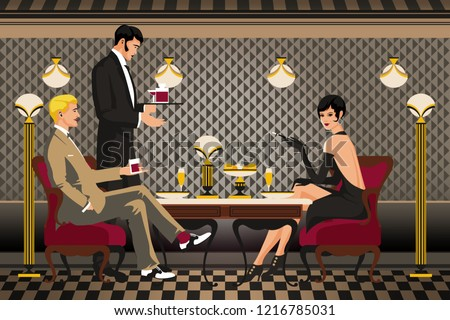 A group of people in a restaurant of the early 20th century. Retro party invitation card. Handmade drawing vector illustration. Art Deco style. Flat design.