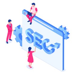 A group of people is engaged in search engine optimization of the site. Web page with people and CEO letters. Vector illustration in isometric style. Isolated over white background.