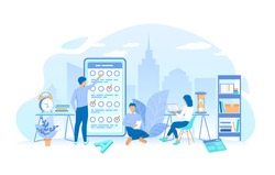 A group of people making online testing, examination. Online mobile survey testing questionnaire. Phone screen with online filling forms. Working process, teamwork communication. Vector illustration