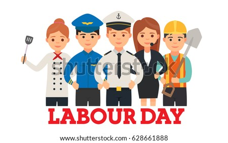 A group of people of different professions. Sailor. The driver of the train. Operator. Cook. Builder. Set of occupations. Labour Day On 1 May. Logo, emblem, banner. Vector images in cartoon style
