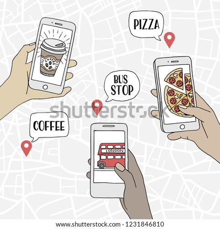 A group of people using their smartphones to find restaurants and public transport, hand drawn illustration with a map pattern in the background