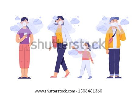 a group of people wearing masks on their faces because of smoke pollution, people protecting health from city pollution, character vector illustration