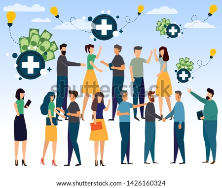 A group of people with positive thinking makes a better life and success in life and career. Success in positive thinking and good acting. positive thinking concept vector illustration. #1426160324