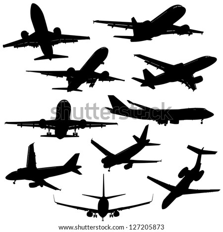 A group of planes in all different angles.