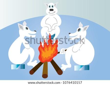 a group of polar bears warm