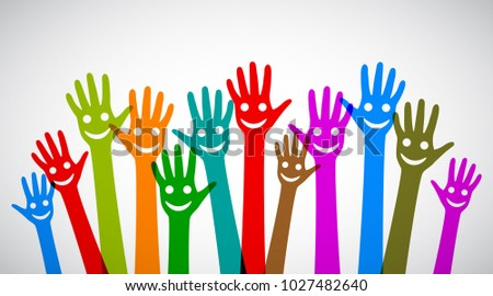 a group of smiling hands