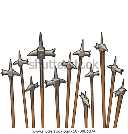 a group of warhammers pointing
