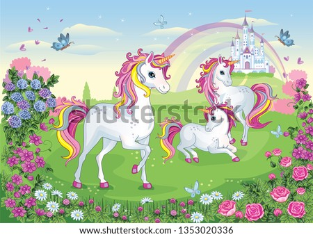 A group of white beautiful unicorns. Fairy-tale background with castle and rainbow. Wonderland. Flower meadow. Children illustration. Magic story. Vector.