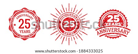 A group of 25 years anniversary logos drawn in the form of stamps, red frames for celebration. Grunge rubber stamp texture. Holiday stamps. Collection of postage stamps. Vector round stamps