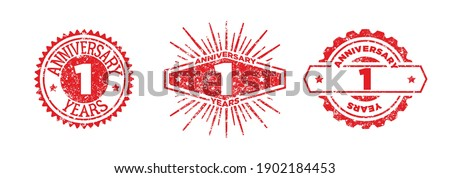 A group of 1 years anniversary logos drawn in the form of stamps, red frames for celebration. Grunge rubber stamp texture. Holiday stamps. Collection of postage stamps. Vector round stamps