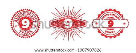 A group of 9 years anniversary logos drawn in the form of stamps, red frames for celebration. Grunge rubber stamp texture. Holiday stamps. Collection of postage stamps. Vector round stamps
