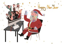 A group of young fashionable people are celebrating Happy New Year 2021 and Christmas via a video conference on the computer with Santa Claus. Vector cartoon isolated on white background.