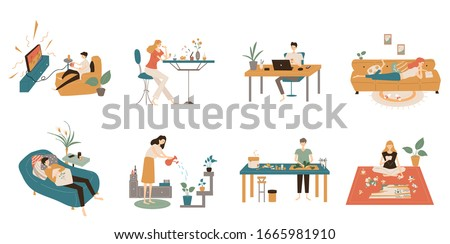 A group of young men and women play games at home on weekends, eat, read books, play puzzles online, and cook.Colored vector illustration in flat cartoon style Stock photo ©